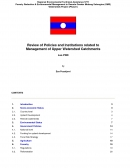 Review of Policies and Institutions Related to Management of Upper Watershed Catchments   Lao PDR, Main Report and Annex,