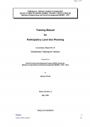 Training Manual for Participatory Land Use PlanningIntroductory Training for Trainers