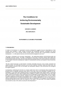 The Conditions for Achieving Environmentally Sustainable Development